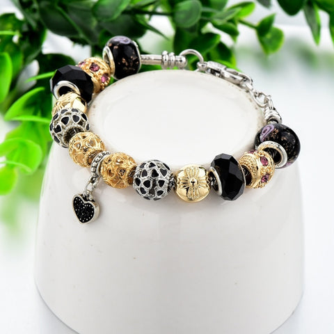Gold Black Crystal Heart Charm Bracelet