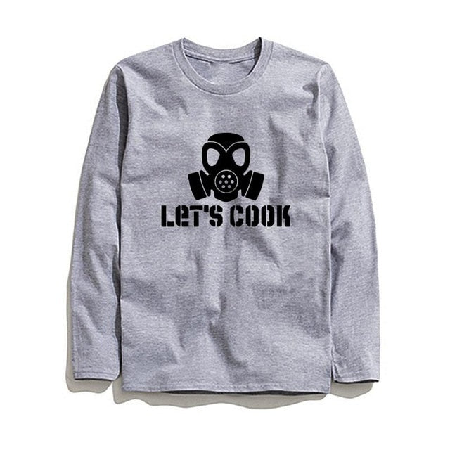 100% Cotton Lets Cook Printed Men T-Shirt Long Sleeve