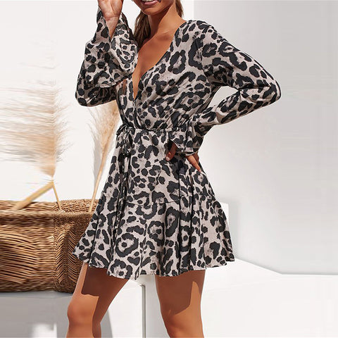 Leopard Print V-neck Long Sleeve Ruffle Women Dress