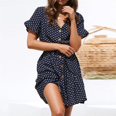 Polka Dot V Neck Short Sleeve Women Dress