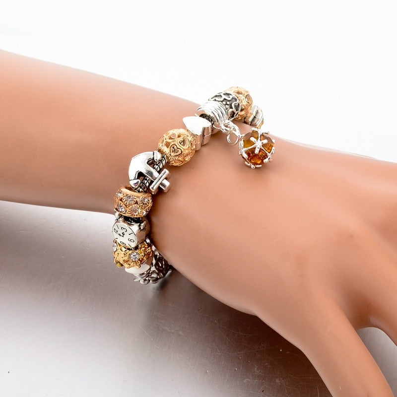 Gold Brown Crystal Ball Charm Bracelet