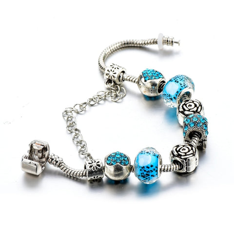 Image of Blue Crystal Silver Flower Charm Bracelet