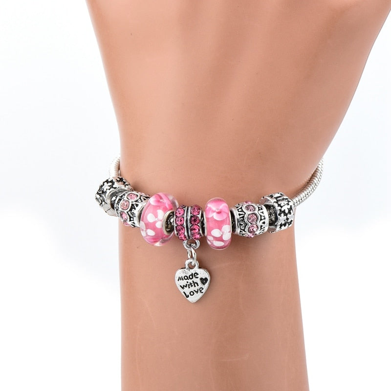 Pink Made With Love Crystal Charm Bracelet