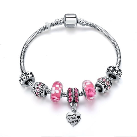 Image of Pink Made With Love Crystal Charm Bracelet