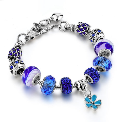 Image of Blue Flower Crystal Charm Bracelet