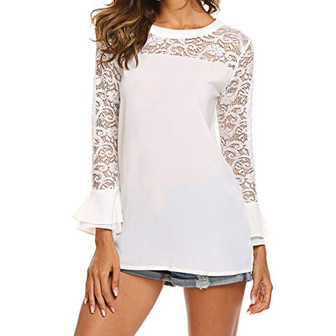 Pullover Lace O-neck Tunic Long Sleeve Ruffle Women Blouse Shirt