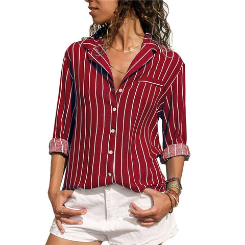 Striped Long Sleeves Turn Down Collar Women Blouse Shirt