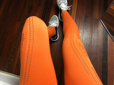 Seamless High Waist Push Up Exercise Eyelet Knit Leggings