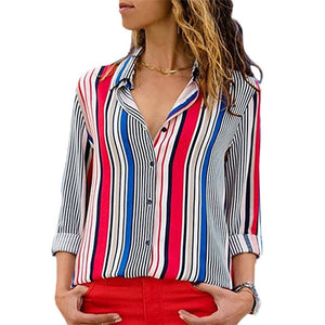 Striped Long Sleeve Turn Down Collar Women Blouse Shirt