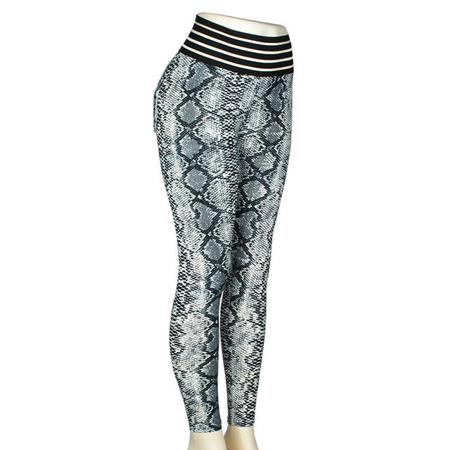 Gray Snake Print High Waist Push Up Fitness Leggings