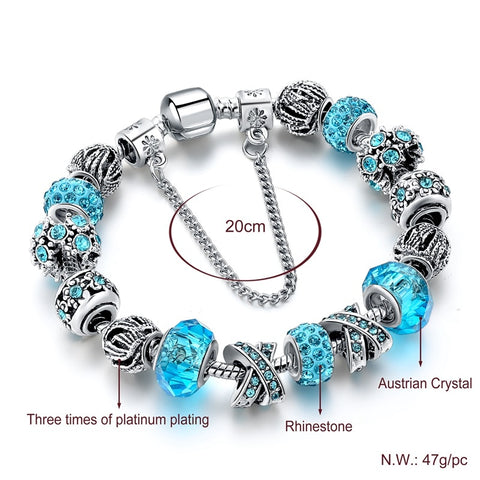 Image of Blue Crystal Charm Bracelet