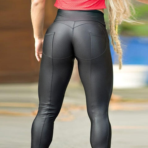 Image of Fashion Patchwork High Waist Push Up Fitness Leggings