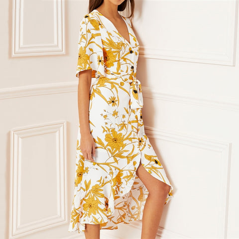 Floral Print Short Sleeve Long Ruffle Women Dress