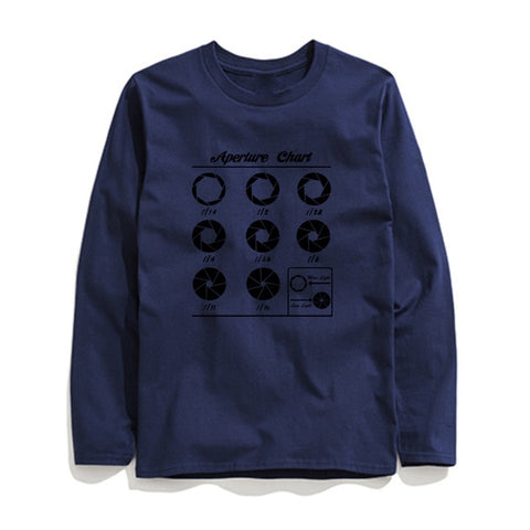 Image of 100% Cotton Aperture Chart Printed Men T-Shirt Long Sleeve
