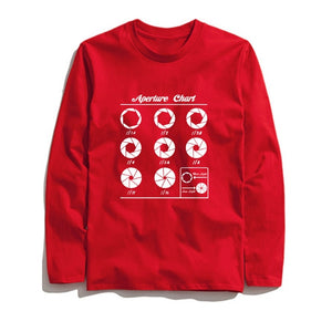 100% Cotton Aperture Chart Printed Men T-Shirt Long Sleeve
