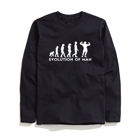 Image of 100% Cotton Evolution Printed Men T-Shirt Long Sleeve