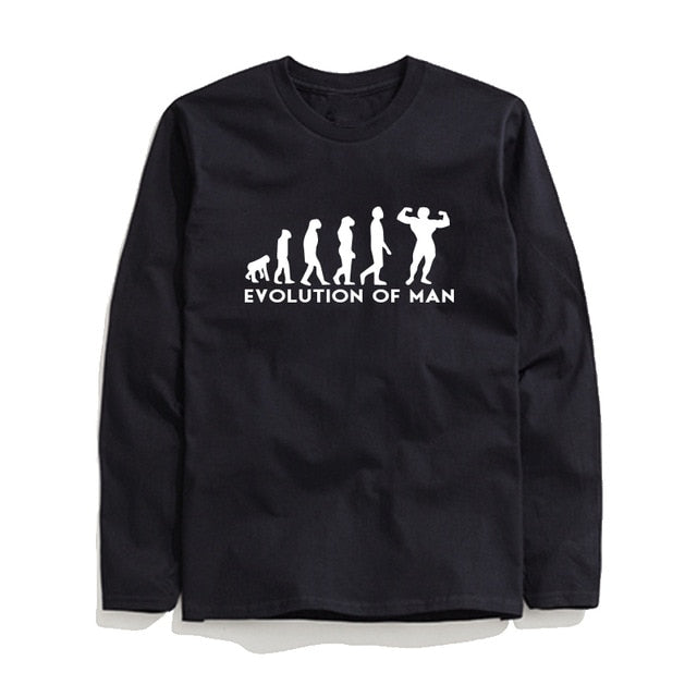 100% Cotton Evolution Printed Men T-Shirt Long Sleeve