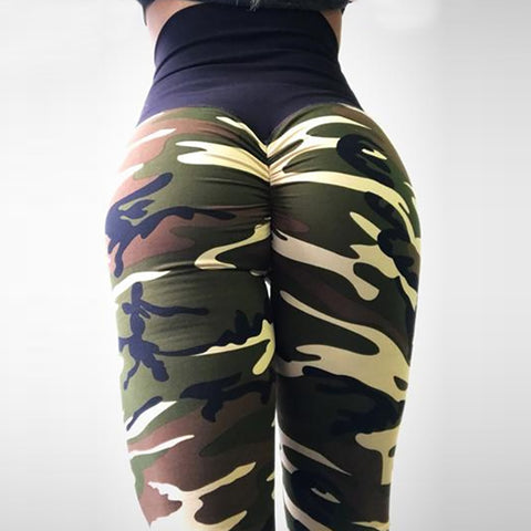 Image of Camouflage Print High Waist Push Up Fitness Leggings