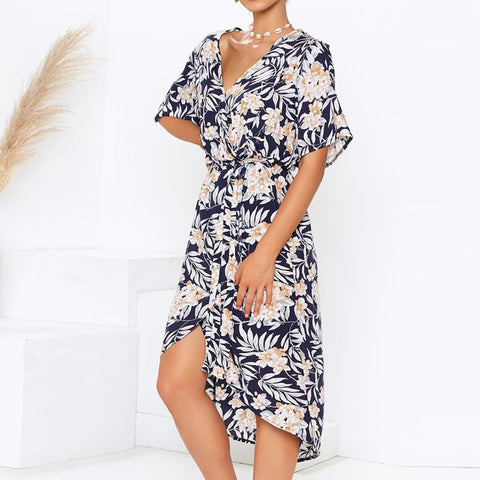 Floral Print V-neck Split Women Dress