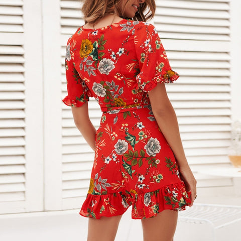 Sexy Floral Print Dress V Neck Women Dress