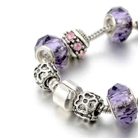 Image of Pink Purple Crystal Charm Bracelet