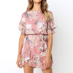Floral Print O Neck Short Sleeve Ruffles Women Dress