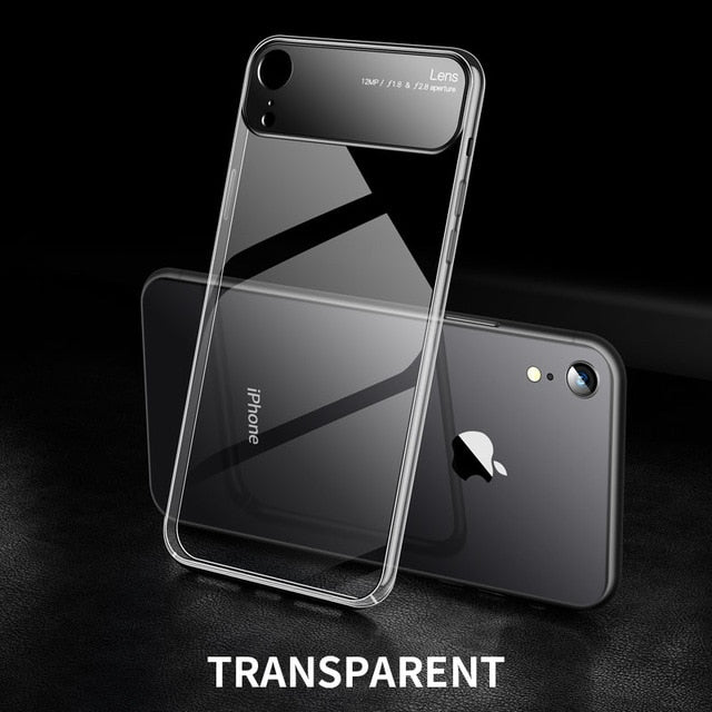iHaitun Luxury Lens Glass Case For iPhone XS MAX XR Cases Ultra Thin PC Transparent Back Glass Cover For iPhone X XS Hard Edge