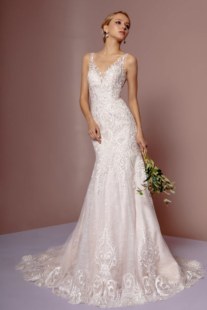 Embroidery Embellished Deep V-Neck Mermaid Wedding Gown