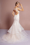 Beads Embellished Mermaid Layered Hem Wedding Gown