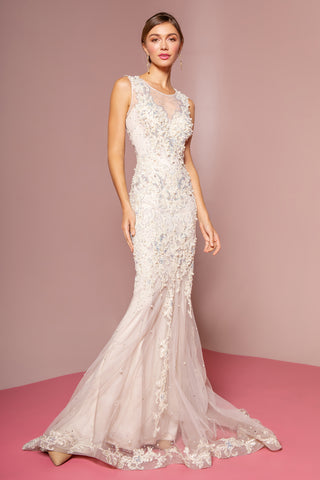 Ivory Floor Length Dress Accented with Bead and Pearl