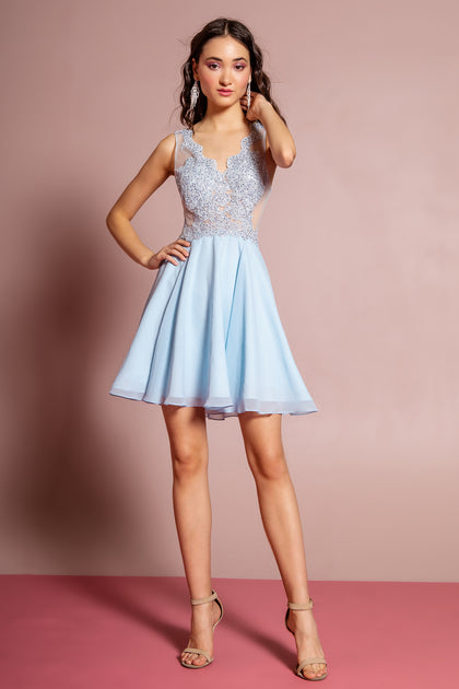 Embroidered Bodice Halter Short Dress