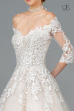 Embroidered Glitter Mesh V-Neck Wedding Gown w/ 1/2 Sleeve