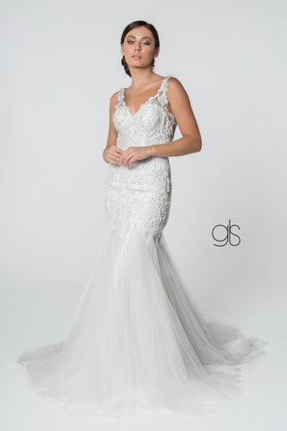 Embroidered Bodice V-Neck Mermaid Wedding Gown w/ Mesh Tail