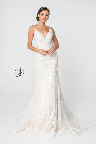 Lace Embellished Illusion Deep V-Neck Wedding Gown w/ Strap Back
