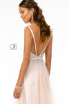 Jewel Embellished Bodice Mesh A-Line Dress w/ Strap Back