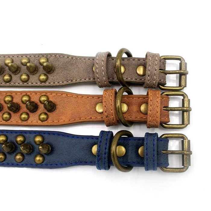Adjustable Leather Punk Rivet Pet Dog Collar - uspetsuperstore