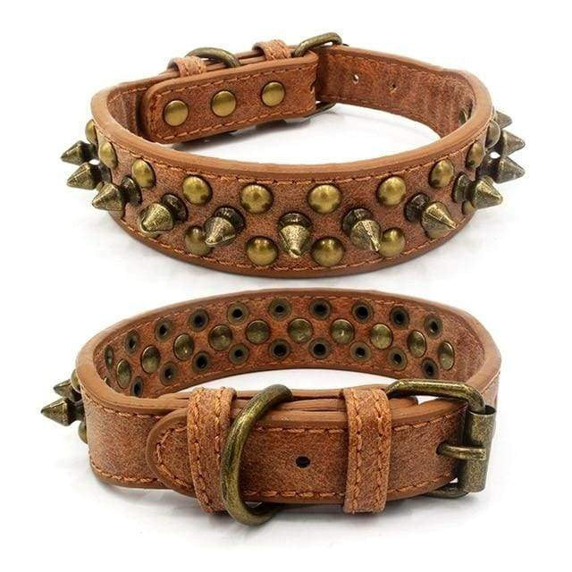 Adjustable Leather Punk Rivet Pet Dog Collar - Chocolate / L / United States - uspetsuperstore