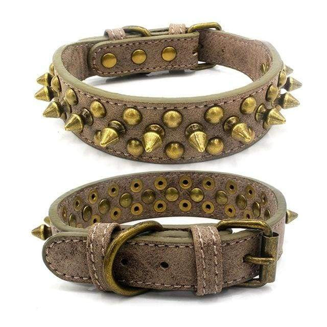 Adjustable Leather Punk Rivet Pet Dog Collar - Gray / L / United States - uspetsuperstore