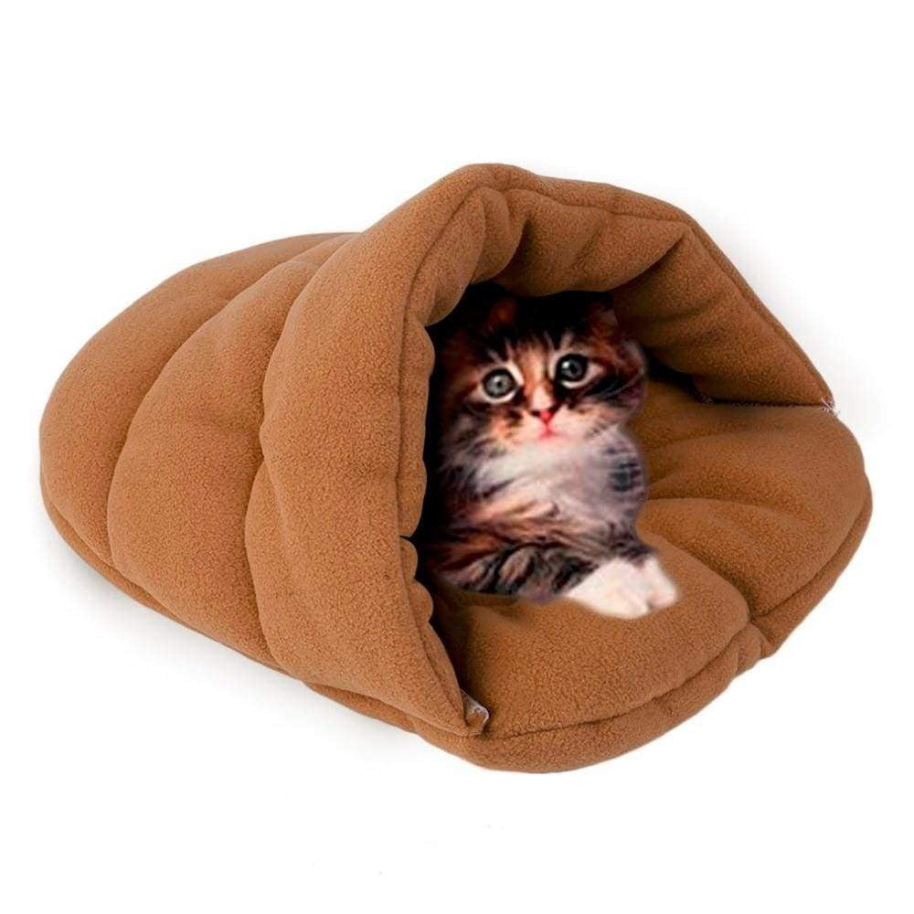 Cave House Soft Fleece Cozy Cat Sleeping Bag for Winter - uspetsuperstore