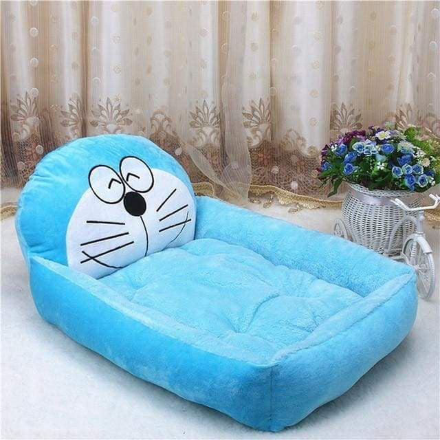 Cute Cartoon Shaped Pet Sofa Kennels For Dog Cat - Sky blue Doraemon / S 50x40x12cm - uspetsuperstore