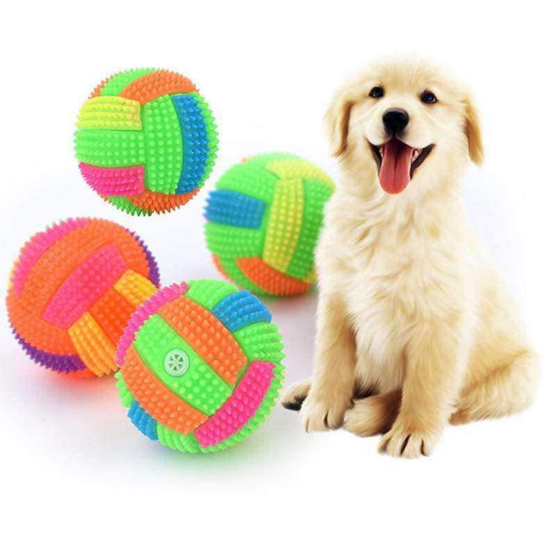 Dog Interactive Squeak Ball Toys with Light Pet Training Elastic Ball - uspetsuperstore