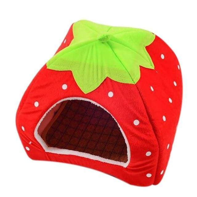 Foldable Cat Dog Kennel Warm Cushion Strawberry Shape Sponge Pet House - Red / L / China - uspetsuperstore