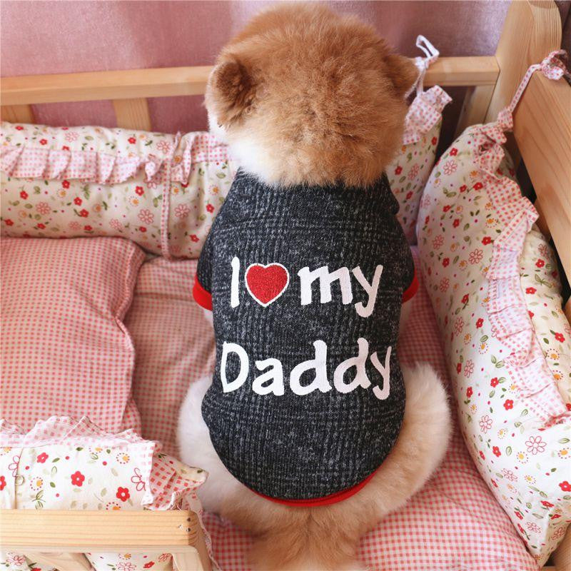 I Love Daddy Dog Winter Warm T-Shirt | Uspetsuper store
