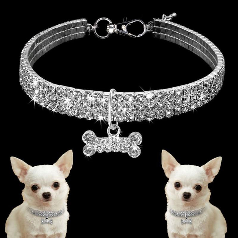 Necklace For Small Dog Shiny Rhinestone Bone Heart Pendant Pet Collar | Uspetsuper store