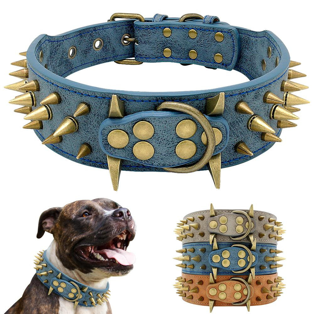Studded Leather Pet Dog Collars