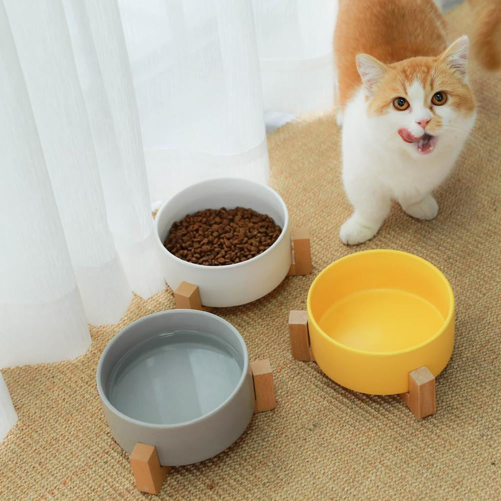 Pet  Anti Slip Elevated Dog Cat Wooden Ceramic Pet Feeder