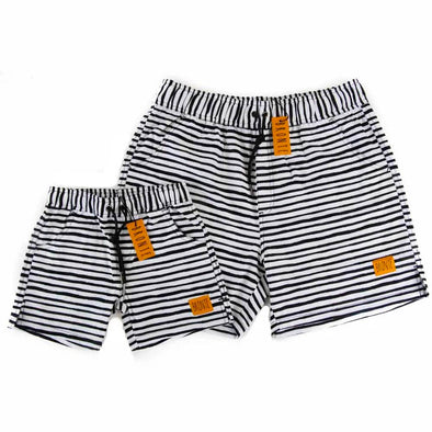 Bronte - Father/Son Black & White Board Shorts Combo