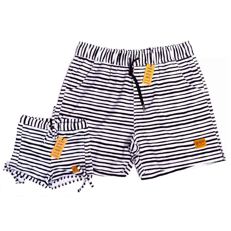 Bronte - Father/Daughter Black & White Stripe Swim Shorts Combo