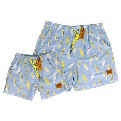 Bronte - Father/Son Crazy Cockatiels Board Shorts Combo