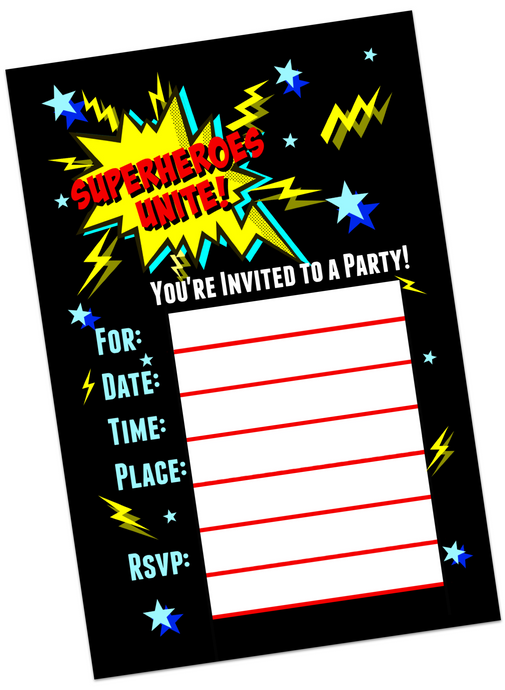 Super Hero Birthday Invitations